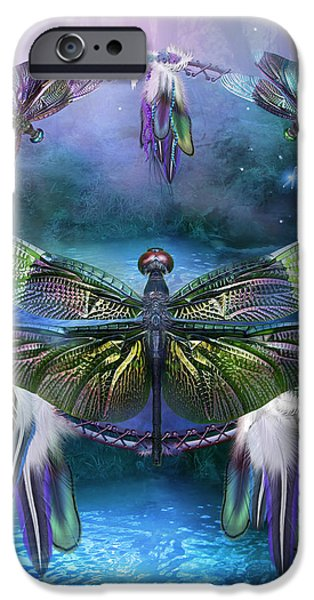 Dream Catcher - Spirit Of The Dragonfly iPhone Case by Carol Cavalaris