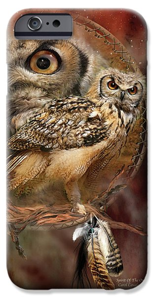 Card Mixed Media iPhone Cases - Dream Catcher - Spirit Of The Owl iPhone Case by Carol Cavalaris