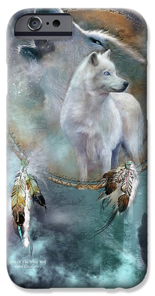 Card Mixed Media iPhone Cases - Dream Catcher - Spirit Of The White Wolf iPhone Case by Carol Cavalaris