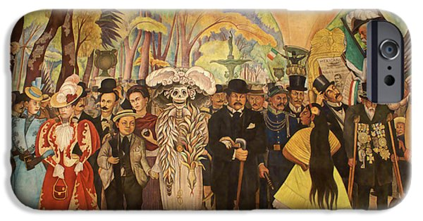 Diego Rivera iPhone Cases - DREAM IN THE ALAMEDA Diego Rivera Mexico City iPhone Case by John  Mitchell