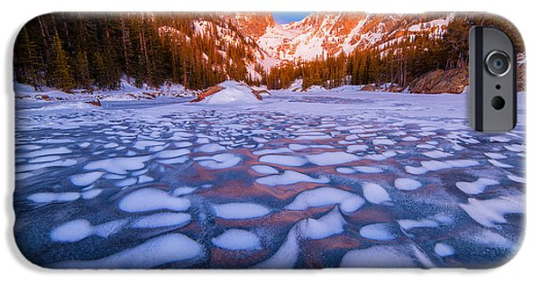 Frozen Lake iPhone Cases - Dream Lake Dimples iPhone Case by Darren  White