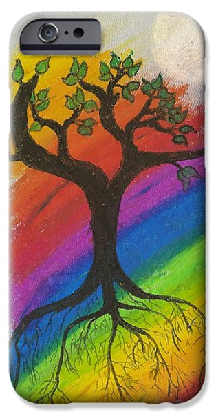 Tree Roots Pastels iPhone Cases - Dream Tree iPhone Case by Natalie Hood