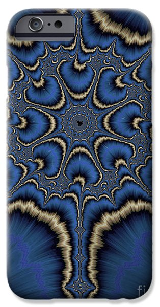 Fractal iPhone Cases - Dreamcatcher in Blue and Gold iPhone Case by John Edwards