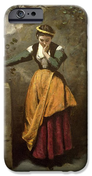 1796 iPhone Cases - Dreamer at the Fountain iPhone Case by Jean Baptiste Camille Corot
