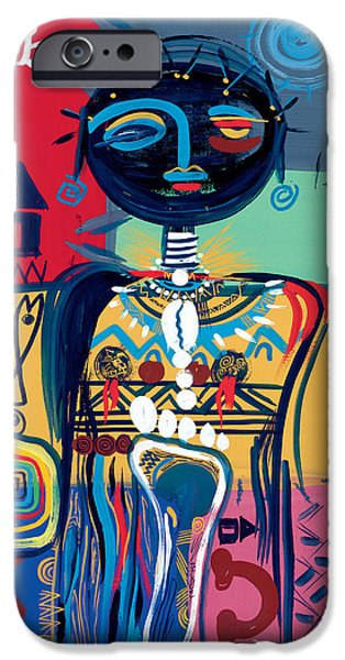 Hairstyle iPhone Cases - Dreaming of Africa iPhone Case by Oglafa Ebitari Perrin
