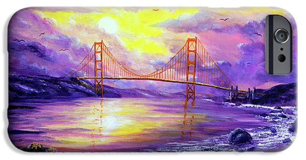 Sunset iPhone Cases - Dreaming of San Francisco iPhone Case by Laura Iverson