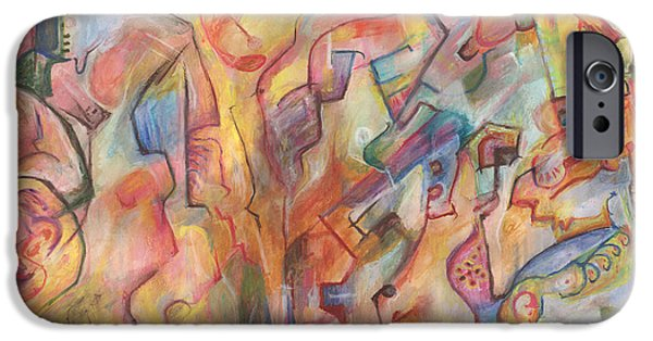 Abstract Expressionism Pastels iPhone Cases - Dreaming of Toyland iPhone Case by Tom Kecskemeti