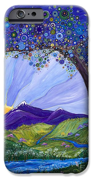 Moon iPhone Cases - Dreaming Tree iPhone Case by Tanielle Childers