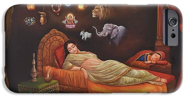 Elephants iPhone Cases - Dreams of Mother Trishla iPhone Case by Pallavi