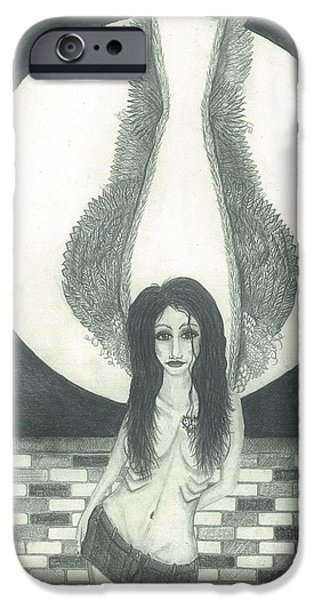 Night Angel Drawings iPhone Cases - Dreams to Remember iPhone Case by Wendy Wunstell