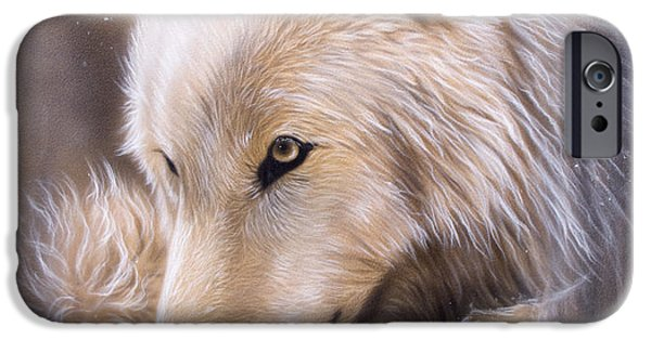 Wildlife Paintings iPhone Cases - Dreamscape - Wolf iPhone Case by Sandi Baker