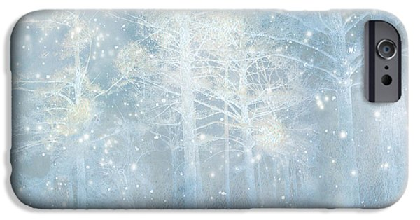 Haunting iPhone Cases - Dreamy Blue Stars and Snow Woodlands Nature iPhone Case by Kathy Fornal