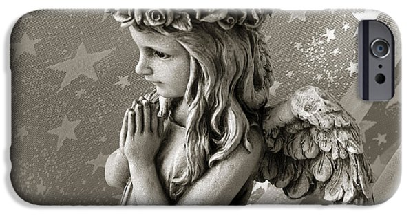 Little Girl Photographs iPhone Cases - Dreamy Little Girl Angel With Praying Hands  iPhone Case by Kathy Fornal
