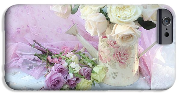 Floral Photographs iPhone Cases - Dreamy Romantic Shabby Chic Spring Roses - Spring Romantic Bouquet of Roses - Shabby Chic Floral Art iPhone Case by Kathy Fornal