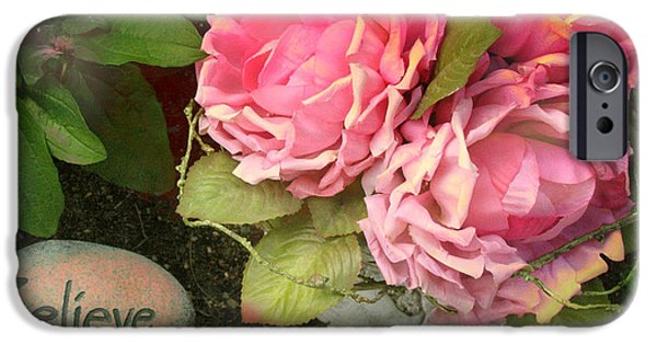 Floral Photographs iPhone Cases - Dreamy Shabby Chic Cabbage Pink Roses Inspirational Art - Believe iPhone Case by Kathy Fornal