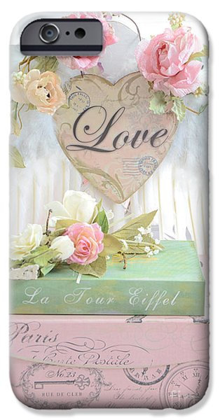 With Love iPhone Cases - Dreamy Shabby Chic Cottage Pink Roses With Romantic Paris Books With Love and Angel Wings iPhone Case by Kathy Fornal