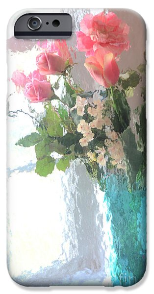 Floral Digital Art Digital Art iPhone Cases - Dreamy Shabby Chic Impressionistic Coral Peach Pink Bouquet - Peach Coral Flowers In Aqua Vase iPhone Case by Kathy Fornal
