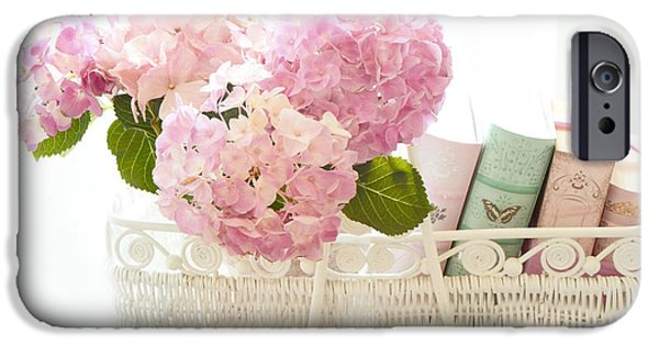 Floral Photographs iPhone Cases - Dreamy Shabby Chic Pink Hydrangeas In Basket - Cottage Hydrangeas and Books  iPhone Case by Kathy Fornal