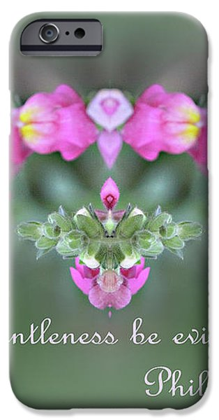 Dreamy Snap Dragon Abstract Phil 4 v 5 iPhone Case by Linda Phelps