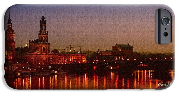 Business Paintings iPhone Cases - Dresden Evening Lights on the River Catus 1 no. 1 H a iPhone Case by Gert J Rheeders