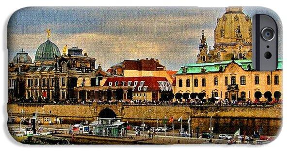 Business Paintings iPhone Cases - Dresden Germany Catus 1 no. 1 iPhone Case by Gert J Rheeders