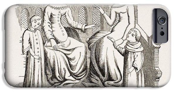 Furniture Drawings iPhone Cases - Dress Of Noble Ladies And Children In iPhone Case by Ken Welsh