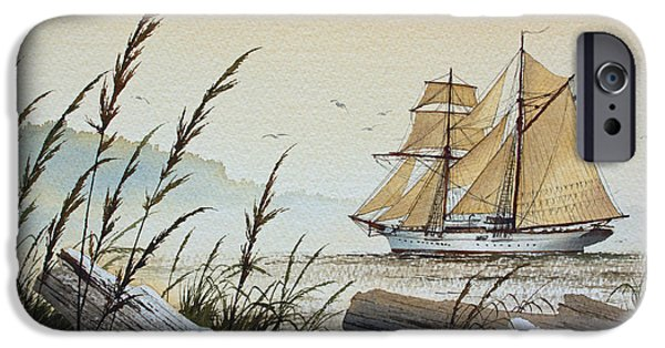 Sailing Ship Framed Prints iPhone Cases - Driftwood Bay iPhone Case by James Williamson
