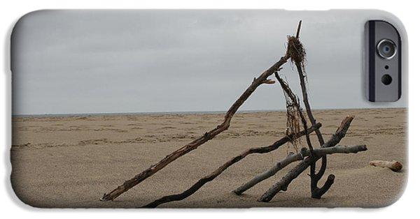 Beach Landscape iPhone Cases - Driftwood Sculpture iPhone Case by Peter Emanuel