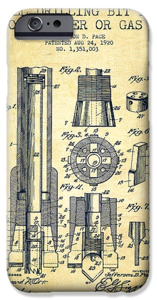 Wall Drawings iPhone Cases - Drilling Bit for Oil Water Gas Patent From 1920 - Vintage iPhone Case by Aged Pixel