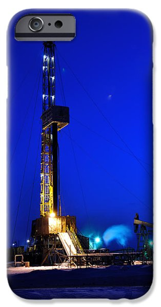 Work Tool iPhone Cases - Drilling Rig at Night iPhone Case by Evgenii Bashta
