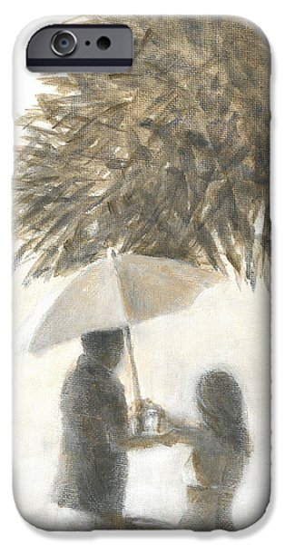 Women Together iPhone Cases - Drink Under a Tree iPhone Case by Lincoln Seligman