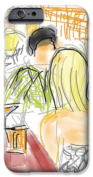 Loose Style Drawings iPhone Cases - Drinks and a First Date iPhone Case by Robert Yaeger