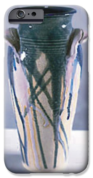 Glaze Ceramics iPhone Cases - Drip Glazed Stoneware Wheel Thrown Vase iPhone Case by Carolyn Coffey Wallace