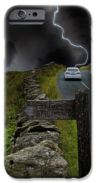 Lightning Bolts iPhone Cases - Driving into the Storm iPhone Case by Martin Newman