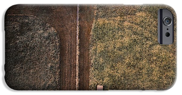 Haybale iPhone Cases - Drone Farm Photo iPhone Case by Spencer Cox