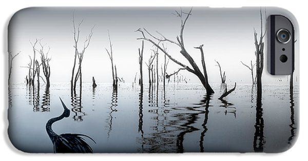 Mist iPhone Cases - Drowned in Blue iPhone Case by Ken A Earl