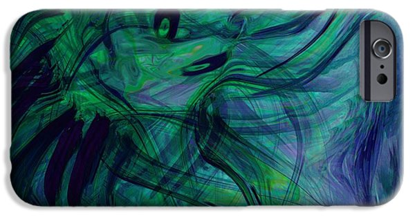 Abstract Digital iPhone Cases - Drowning iPhone Case by Linda Sannuti
