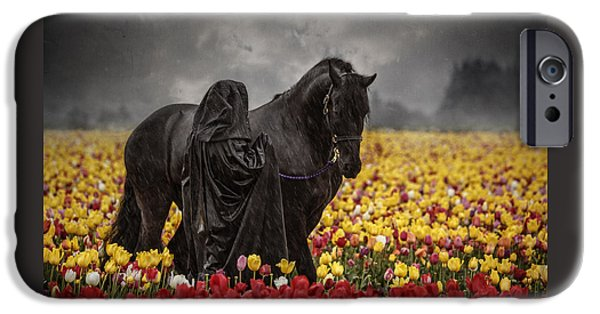 The Horse iPhone Cases - Druids In The Fields D4609 iPhone Case by Wes and Dotty Weber