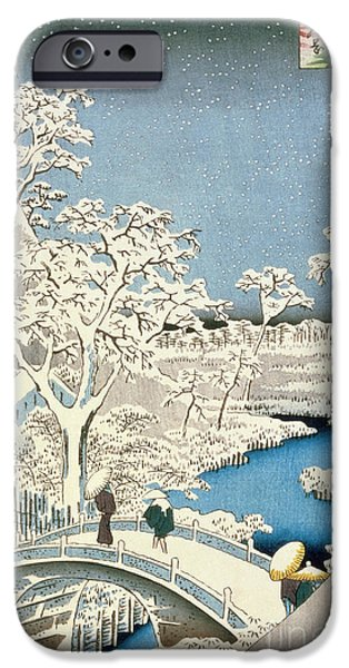 Setting Sun iPhone Cases - Drum bridge and Setting Sun Hill at Meguro iPhone Case by Hiroshige