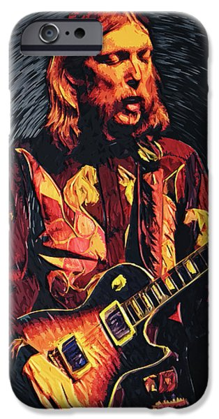 Jam Digital iPhone Cases - Duane Allman iPhone Case by Taylan Soyturk