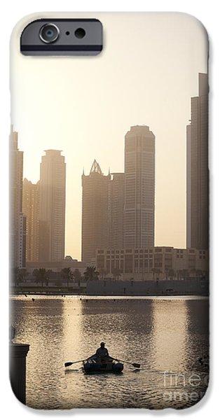 Business Photographs iPhone Cases - Dubai Skyline iPhone Case by Camilla Cherry