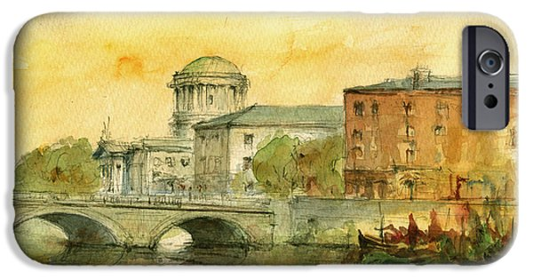 Original Watercolor iPhone Cases - Dublin cityscape iPhone Case by Juan  Bosco