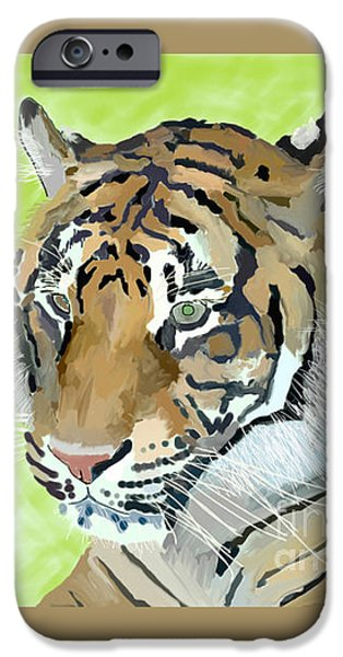The Tiger Drawings iPhone Cases - Dublin Tiger iPhone Case by Paul Maher