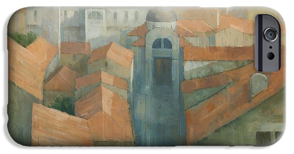 Yellow Ochre iPhone Cases - Dubrovnik Rooftops iPhone Case by Steve Mitchell
