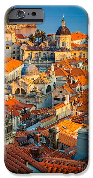 Beach iPhone Cases - Dubrovnik Sunset iPhone Case by Inge Johnsson