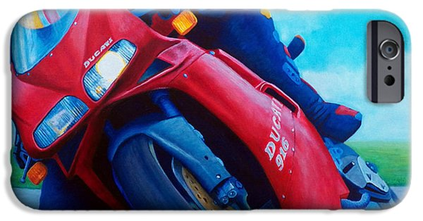 Motorcycle iPhone Cases - Ducati 916 iPhone Case by Brian  Commerford