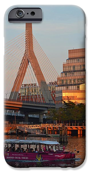 Boston Ma iPhone Cases - Duck Boat in front the Lenny Zakim Bridge Boston MA iPhone Case by Toby McGuire