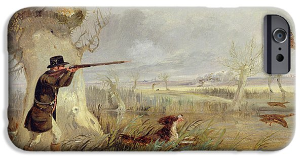 Flying Birds iPhone Cases - Duck Shooting  iPhone Case by Henry Thomas Alken