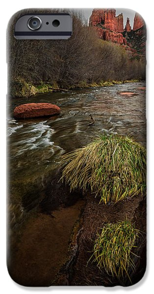 Cathedral Rock Pyrography iPhone Cases - Ducks Playing below Cathedral Rock iPhone Case by Rick Strobaugh