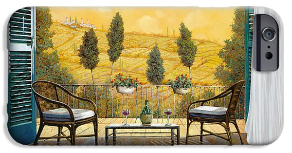 Wine Glasses Paintings iPhone Cases - due bicchieri di Chianti iPhone Case by Guido Borelli